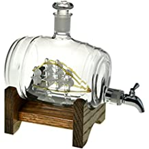 Bourbon Barrel Liquor Decanter - Scotch Whiskey Decanter - 1000ml Dispenser for Alcohol - Vodka, Bourbon, Rum, Wine, Whiskey, Tequila or Even Mouthwash - Glass (Tomoka Gold from Prestige Decanters)