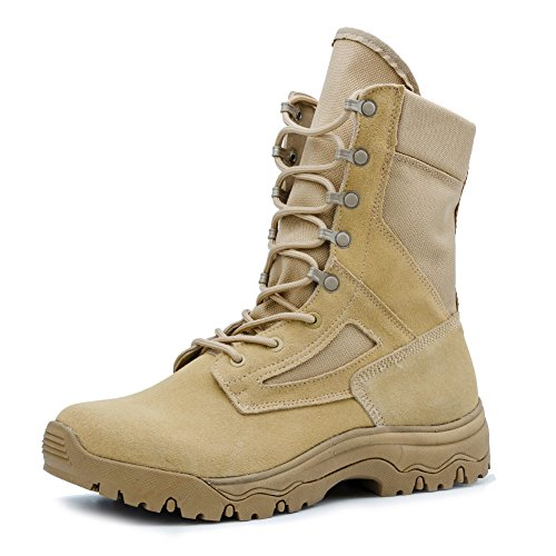 Mens Athletic Waterproof Boots - IODSON US New Military Athletic Tactical Comfort Leather Boots Mens' Ultra-Light Combat Boots Waterproof 9 D(M) US
