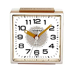 PINGHE Alarm Clock,Silent No-Ticking Bedside Analog Alarm Clock,Small Lightweight Travel Quartz Alarm Clock,with Snooze and Light,Easy to Set,Battery Operated,Best for Elder/Kids (559 Gold)