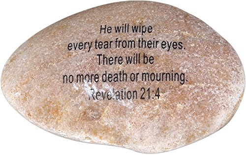 "Extra Large Engraved Inspirational Scripture Biblical Natural Stones collection – Stone XI : Revelation 21:4 :"" He will wipe every tear from their eyes. There will be no more death or mourning. "" Review"