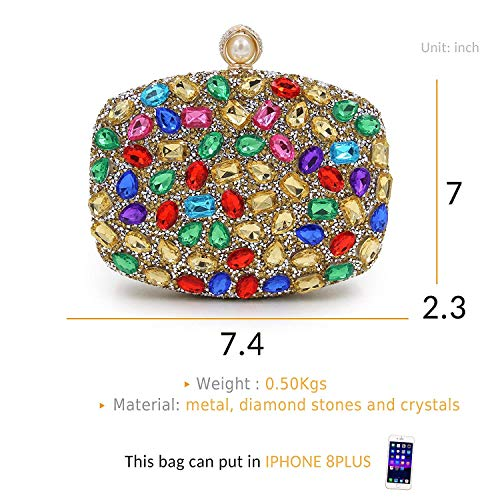 Clutch Clutches Colorful gold Evening Bag TOOGOO For Handbags Purse Crystal Women Diamond Wedding I7nYxxRa