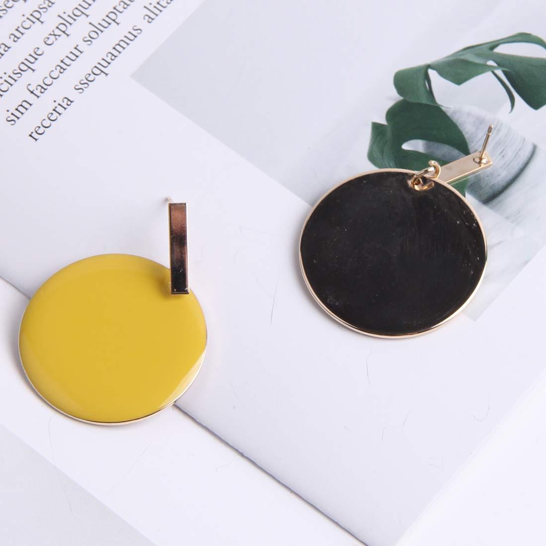 Yeslady Lemon Yellow Circle Round Drop Earrings Christmas Gift
