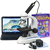 AmScope M149C-WM-E Digital Compound Monocular Microscope, WF10x and WF25x Eyepieces, 40x-1000x Magnification, LED Illumination, Brightfield, Single-Lens Condenser, Plain Stage, 110V or Battery-Powered, Heavy-Duty Metal Frame, Includes Book, 0.3MP Camera and Software