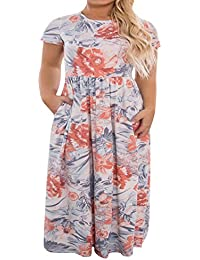 684ab317f05 Womens Plus Size Maxi Dresses Short Sleeve Causal Summer Floral Plain Loose  T Shirts Long Dress