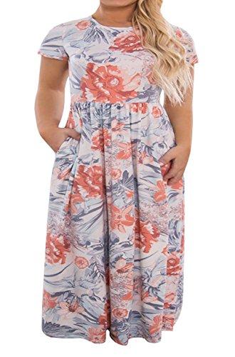 Womens Light T-shirt Bridesmaid (Womens Plus Size Maxi Dresses Short Sleeve Causal Summer Floral Plain Loose T Shirts Long Dress with Pockets Light Pink)