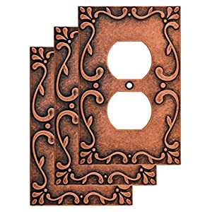 Franklin Brass W35071V-CPS-C Classic Lace Single Duplex Wall Plate/Switch Plate/Cover (3 Pack), Sponged Copper