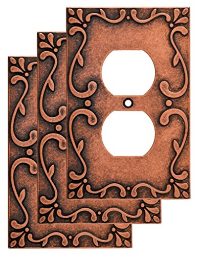 (Franklin Brass W35071V-CPS-C Classic Lace Single Duplex Wall Plate/Switch Plate/Cover (3 Pack), Sponged Copper)