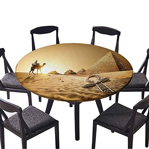 Youdeem-tablecloth Circular Table Cover Bedouin on Camel Near Pyramids and ankh in Desert for Wedding Banquet 43.5