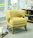Coaster Home Furnishings Accent Chair with Barrel Back Yellow and Weathered Grey For Sale