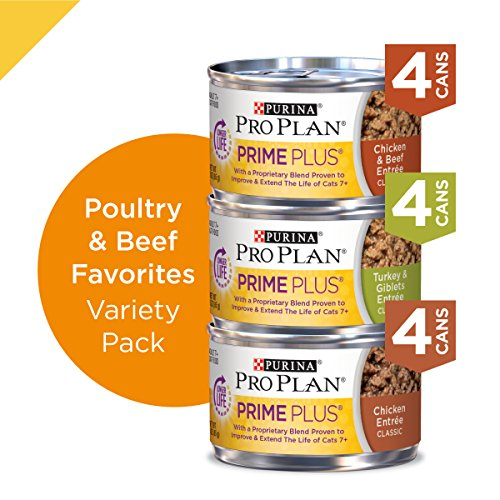 Purina Pro Plan Grain Free Senior Pate Wet Cat Food Variety Pack, PRIME PLUS Poultry & Beef Favorites - (2 Packs of 12) 3 oz. Cans