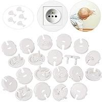 MOKIU 30pcs (25 caches + 5 clés) Caches Prises pour enfant Sécurité de Courant avec Caches Prises à mécanisme tournant