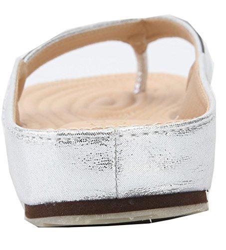 Eul08 Plat Flops Argent Shoes Antidérapant Talon Flip AgeeMi Femmes Sandales zCRFAq