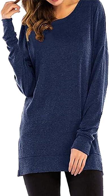 Sylar Blusas para Mujer Elegantes Camisetas De Manga Larga Camisa Mujer Cuello Redondo Camisa Mujer Color Sólido Sudaderas Sin Capucha Otoño Suelto Jersey Mujer: Amazon.es: Ropa y accesorios