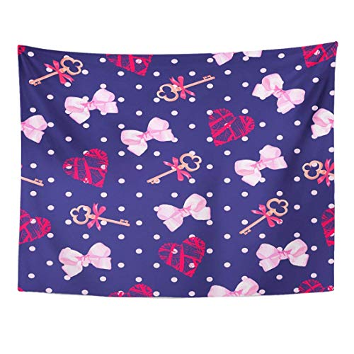 Tapestry Blue Girly Navy Keys from Valentines Heart and Pink Satin Bows Polka Dot Red Cute Home Decor Wall Hanging for Living Room Bedroom Dorm 60x80 Inches