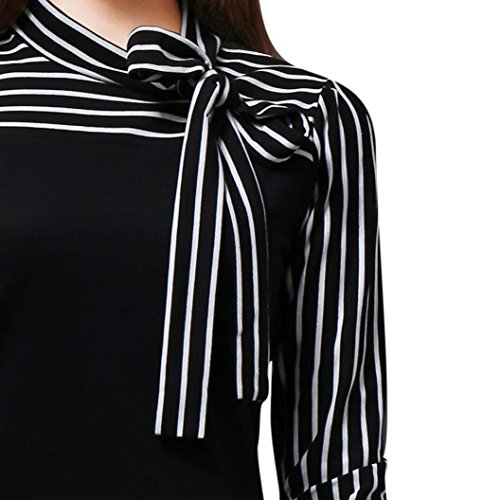 Patchwork Bow (Loose Patchwork Tops for Ladies, Leyorie Women Tie-Bow Neck Striped Long Sleeve Splicing Shirt Fashion Blouse (Black, XXL))