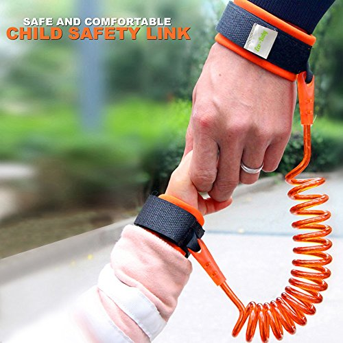 Eco Baby Anti Lost Wrist Link for Child & Babies Toddler Safety, Harnesses & Leashes Walking Hand Belt Strap ( 8.2ft Orange)