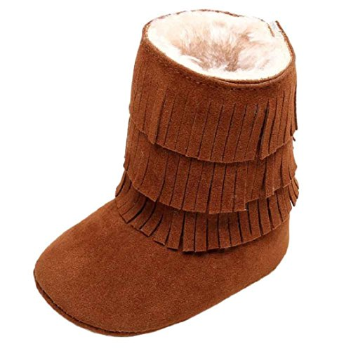 Basic Costumes Boots (Fheaven Baby Keep Warm and Comfortable Double-deck Tassels Soft Sole Snow Boots Soft Crib Shoes Toddler Boots for Winter ( Age:0~24 Month) (US:4, Brown))