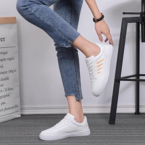 Informales 37 Plata Oro Cordones Zapatillas Blancas SHI Zapatillas Color Zapatillas Cordones Mujer con Deportivas Tama de con o La qSTCX