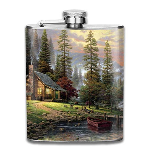 Oximing Customized Chalet Painting Forest Lake Wallpaper Stainless Steel Wine Bottle, Personalized Flask Gift