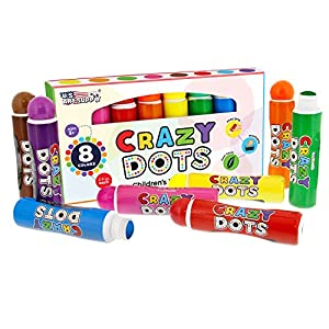 U.S. Art Supply 8 Color Crazy Dots Markers – Children's Washable Easy Grip Non-Toxic Paint Marker Daubers