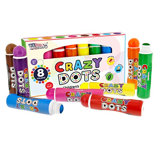 U.S. Art Supply 8 Color Crazy Dots Markers - Children's Washable Easy Grip Non-Toxic Paint Marker - Marker 08