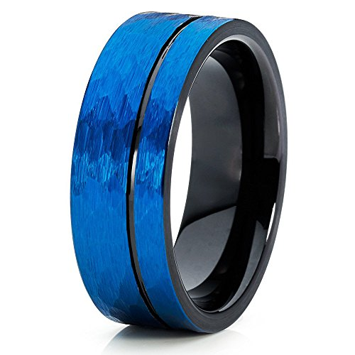 Silly Kings 8mm Blue Tungsten Carbide Wedding Ring Black Inlay Offset Groove Hammered Design Mens Band ()