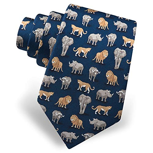 Safari Tie - Men's 100% Silk Navy Blue Big Five Game of Africa Animals Lion Elephant Tie Necktie