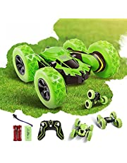 Faylor RC Stunt Car Rechargeable Racing Car with 2.4Ghz Remote Control, High Speed Car Toys 4WD Double Sided 360° Spins and Flips Driving Car Toys for Kids Boy(Green)