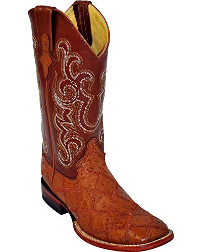 Ferrini Mens Ostrich Patchwork Exotic Western Boot Square Toe - 1169309 Cognac ePOTS7iIuU