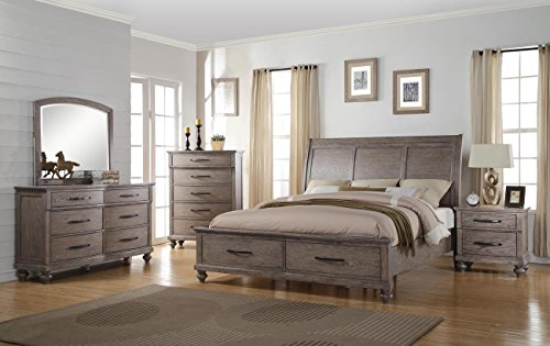 Langley 5 Piece Eastern King Storage Bedroom Set with Chest in Weathered Wood Grain Grey by NCF Furniture
