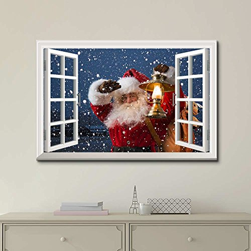 Print Window Frame Style Wall Decor Santa Claus Carrying Gifts Coming on Christmas Eve Stretched