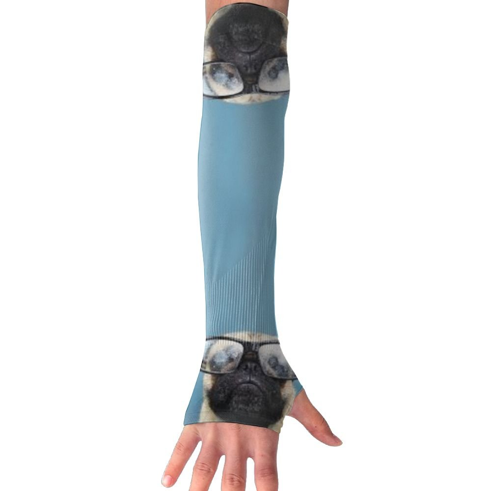 Pug In Glasses Womens Super Long Fingerless Anti-uv Sun Protection Golf Driving Sports Arm Sun Sleeves Gloves