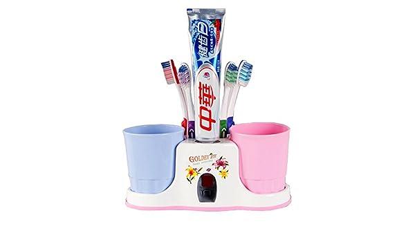 Soporte para pasta de dientes, juego de vaso para cepillos de dientes, cepillos de dientes soporte, color al azar: Amazon.es: Hogar