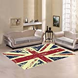 british 5x7ft - InterestPrint Home Decoration Grunge Union Jack Area Rug Cover 7' x 5' Feet - British Flag Carpet Rugs Cover for Home Kitchen Living Dining Room Bathroom