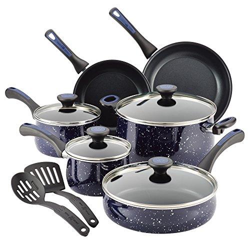 Paula Deen Riverbend Aluminum 12-Piece Cookware Set, Deep Blue Speckle