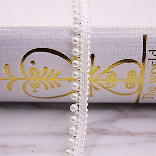 LZDD 1ヤードホワイト/ブラックパールビーズレーストリムテープレースリボンレースファブリックカラードレス縫製ガーメント飾り材料 (Color : I 1)