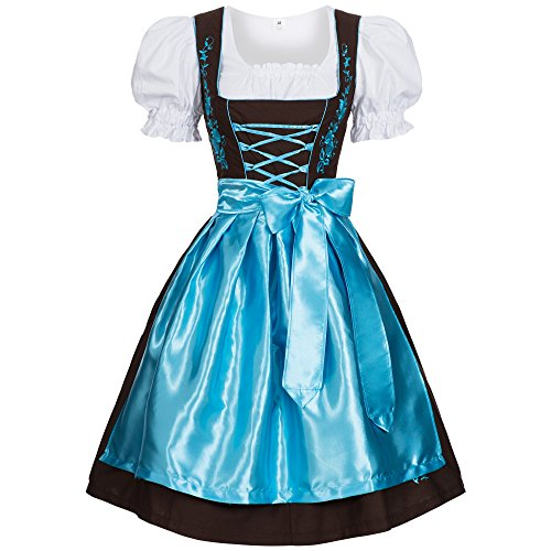 Women's Set-3 Dirndl Pieces Embroidery 34 Brown/light blue
