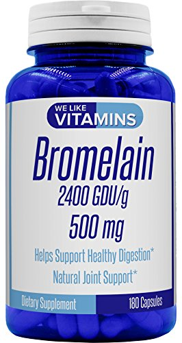 Bromelain 500mg - 180 Capsules (Non GMO & Gluten Free) - Best Value Bromelain Supplement on Amazon - Proteolytic Enzymes from Pineapple Supporting Nutrient Absorption and Digestion 2400 GDU/g*