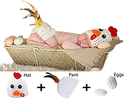 M&G House Fashion Newborn Handmade Crochet Knitted Photography Prop Chicken Set Unisex Baby Cap Outfit