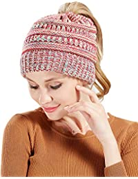 Greenis Womens Ponytail Beanie Hat Soft Stretchy Cable Knit BeanieTail Warm Winter Hat for Messy Bun Ponytail Hole