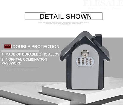 Caja de cerradura con llave Caja de cerradura montada en la pared con código de restablecimiento de combinación de 4 dígitos mientras se esconde con seguridad en el exterior, sus llaves, azul: