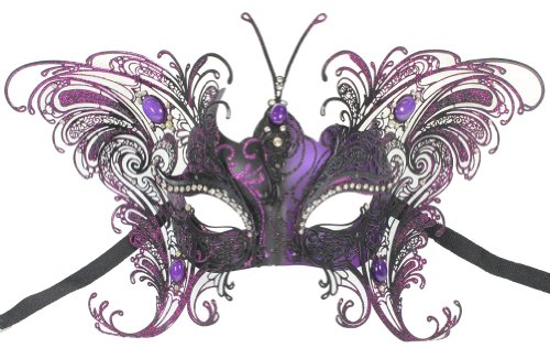 Purple Venetian Mask (RedSkyTrader Womens Butterfly Metal Mask One Size Fits Most Purple)
