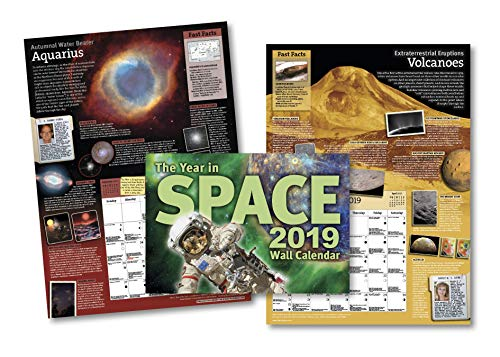 "The Year in Space 2019 Wall Calendar, Large Format 16"" x 22"" When Open, Over 120 Astronomy & Space Exploration Images, Moon Phases, Space History, Sky Events"