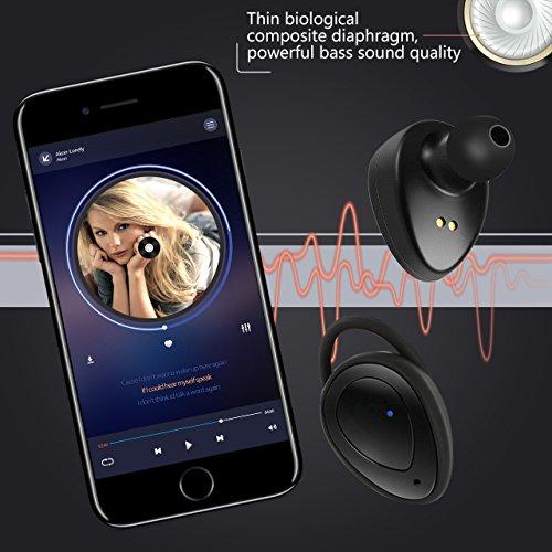 Auriculares Bluetooth Inalámbricos - Auriculares Inalambricos iPhone WiFun Con Micrófono, Gemelos Estéreo V4.1 Auriculares Bluetooth Auriculares Con Cancelación de Ruido Para Correr para iPhone Teléfo Negro