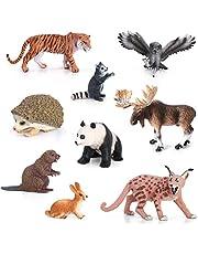 Volnau Animal Figurines Toys Set 9PCS Eurasia Animal Figures Zoo Pack for Toddlers Kids Christmas Birthday Gift Preschool Educational Tiger Panda Jungle Rain Forest Animals