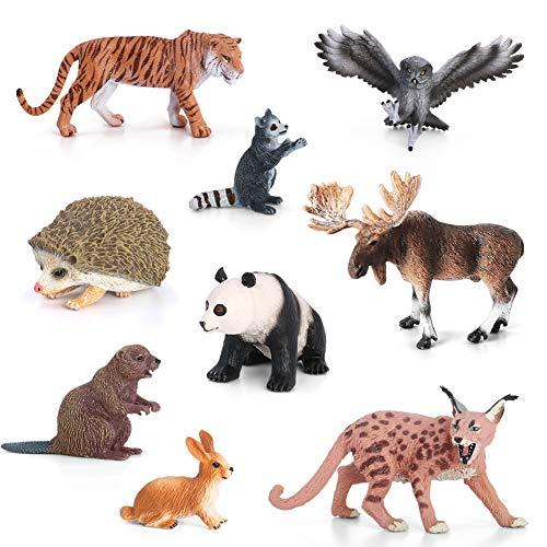 Animal Figurines Toys Set VOLNAU 9PCS Eurasia Animal Figures Zoo Pack for Toddlers Kids Preschool Educational Tiger Panda Jungle Rain Forest Animals, BPA Free ()