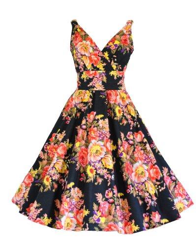 40 's - 50 's Style noir-Imprimé Floral Vintage en coton Robe évasée Full Circle