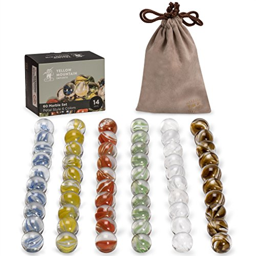 Yellow Mountain Imports 14mm Marbles for Chinese Checkers, Set of 60, Translucent with 6 Petal Style Colors, 10 Marbles for Each