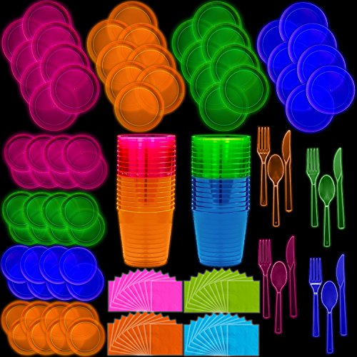 Neon Disposable Party Supplies Set, 32 Guest - 2 Size Plates, Tumbler Cups, Napkins, Cutlery | Glows Under Black Light or UV - Pink, Green, Blue, Orange | For Birthday, Clubs, 80s Festivals, and More -