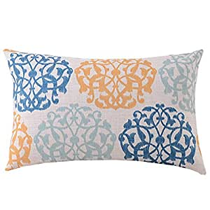 Create For-Life Cotton Linen Decorative Pillowcase Throw Pillow Cushion Cover Colorful Damask Prints Rectangle 12 by icecream design